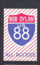 #MUSIC228  - White Laminated Bob Dylan 1988 Tour Backstage Pass