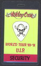 #MUSIC235  - Motley Crue 1989  World Tour Laminated Backstage Pass