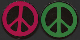 #MSH031 - Pair of Scarce Giant Sized Tin Peace Symbol Pinbacks from the Late 1960s Hippie Era
