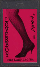 #MUSIC441 - Red Version 1984 Loverboy Laminated Backstage Pass from The Last Leg Tour