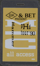 #MUSIC422  - 1990 M. C. Hammer Laminated Backstage Pass from the pHd Tour