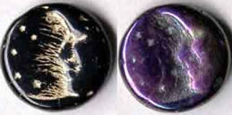 #BEADS0189 - Spooky Man in the Moon Glass Halloween Beads - Just Purple left