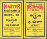 #ZLP125 - Pair of Two Differnt MasterMobile Oil Can Labels