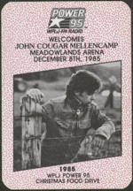 #MUSIC741 - Scarce Radio Promo John Cougar Mellencamp Cloth Backstage Pass from the 1985 Christmas Food Drive Concert - Farm Aid