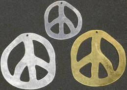 #BEADS0030 - Group of 3 Different Larger Metal Peace Pendants