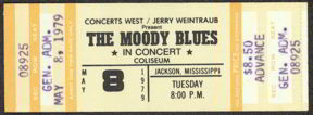 #MUSIC335 - 1979 Moody Blues Advance Ticket from Jackson Mississippi