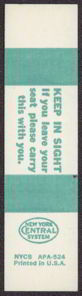 #CA066 - Old Unused New York Central Railroad System Ticket