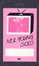 #MUSIC499 - 1983 Neil Young Laminated Backstage Pass from the Solo Tour