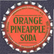 #BC107 - Group of 10 Orange Pineapple Cork Lined Soda Caps