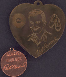 #BEADSC0251 - Pair of Large Brass Pat Boone Pendant/Charms