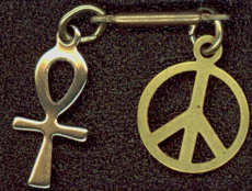 #BEADSC0243 - Charm Bar with Egyptian Ankh and Peace Sign Charms Attached