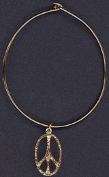 #MSH030 - Gold Colored Hippie Era Bracelet with Elongated Peace Symbol - As low as $1.00 each