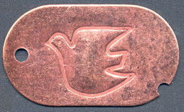#MSH034 - Late 1960s Copper Dog Tag with an Embossed Peace Dove