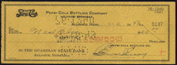 #ZZZ089 - 1940s Pepsi Cola check from the Alliance Nebraska Plant