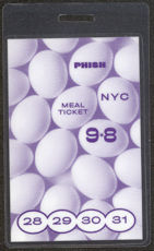 #MUSIC403  - 1998 PHISH Laminated Backstage Meal Pass