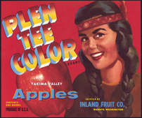 #ZLC268 - Plen Tee Color Apple Crate Label with Indian Maiden