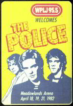 #MUSIC246  - 1982 The Police at Meadowlands Arena OTTO Backstage Pass - Radio WPLJ