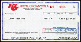 #ZZZ075 - 1970s Royal Crown Nehi Checks from the Bottler in Indianapolis
