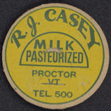 #DC104 - R. J. Casey Milk Bottle Cap from Proctor, VT