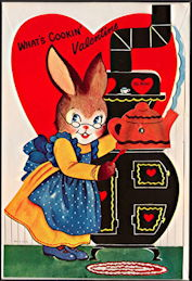 #HH102 - Large Diecut Mechanical Valentine with Bunny with Original Envelope