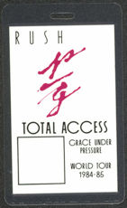 #MUSIC375  - 1984-85 Rush Laminated Backstage Pass from the Grace Under Pressure Tour