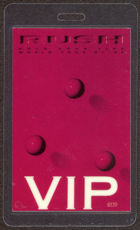 #MUSIC401  - Red 1987 Rush Laminated Backstage Pass from the Hold Your Fire Tour