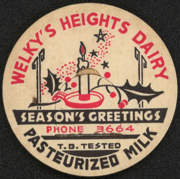#DC119-12 - Rare Season's Greetings Milk Cap From the Welky's Heights Dairy