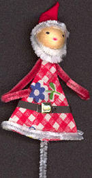 #HH138 - Hand Painted Chenille Santa Tie On Decoration