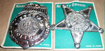 #TY631 - Pair of Carded Tin Sheriff and Special Police Badges - Made in Japan