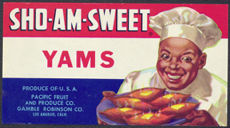 #ZLP127 - Uncommon SHO-AM-SWEET Yams Can Label