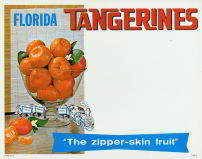 #SIGN035 - Florida Tangerines Sign with Tangerines in a Large Glass Bowl