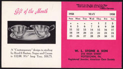 #ZZZ081 - W. L. Stone & Co. 1958 Ink Blotter Advertising Sterling Silver Reed & Barton Set