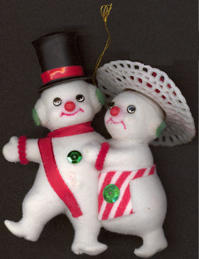 #HH146 - Good Quality Mr and Mrs Frosty the Snowman Ornament with String