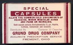 #CS366 - Special Capsules Box from the Grund Drug Company in Fremont, Ohio