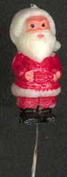 #HH147 - Old Hand Painted Hard Plastic Mini Santa on a Wire