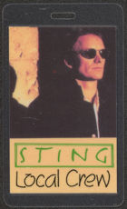 #MUSIC396  - Laminated 1994 Sting Backstage Pass from the Ten Summoner's Tales Tour