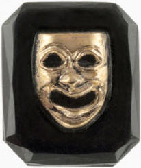 #BEADS0175 - Jet Black Glass Intaglio with Gold Greek Theater Comedy Mask in Raised Relief