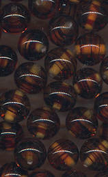 #BEADS0687 - Group of 50 Cherry Brand Tiger Eye Transparent Glass Beads