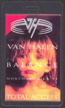 #MUSIC260  - 1995 Van Halen Laminated Backstage Pass from the Balance Tour - Boy Pictured