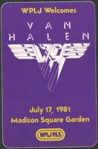 #MUSIC726 - Van Halen Cloth Backstage Pass from the 1981 Fair Warning Tour Concert at Madison Square Gardens