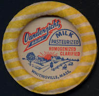 #DC162 - Large Vanderzicht Dairy Milk Bottle Cap with Cows - Whitinsville, MA