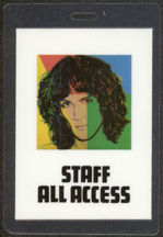 #MUSIC423  - 1982 Andy Warhol Designed Billy Squier Laminated Backstage Pass from the Emotions in Motion Tour