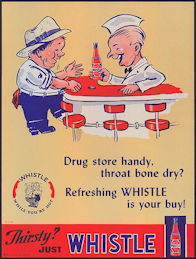 #SIGN177 - Very Large 1941 Whistle Soda Sign - Drug Store Handy