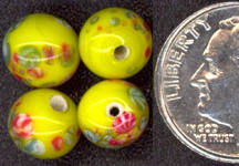 #BEADS0387 - Bright Yellow Japanese Millefiori Bead