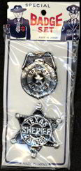 #TY252  - Carded Special Police and Sheriff Badges - Policeman on Header - Japan