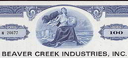 #ZZZ033 - Beaver Creek Industries Stock Certificates