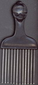 #NE025 - Hair Pick/Comb with embossed Black Lady