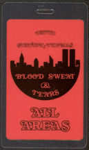 #MUSIC456  - 1984 Blood Sweat & Tears Laminated Backstage Pass from the 1984 Tour