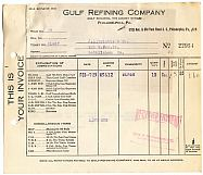 #ZZCA015 - Group of two 1930 Gulf Refining Company invoices