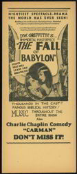 #ZZB061  - Charlie Chaplain Silent Movie Handbill - Fall of Babylon